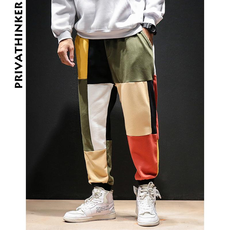 Privathinker Patchwork Renk Harem Pantolon Erkekler 2019 Erkek Streetwear Casual Koşucular Pantolon Erkek Sonbahar Vintage Pamuk Sweatpants V191111