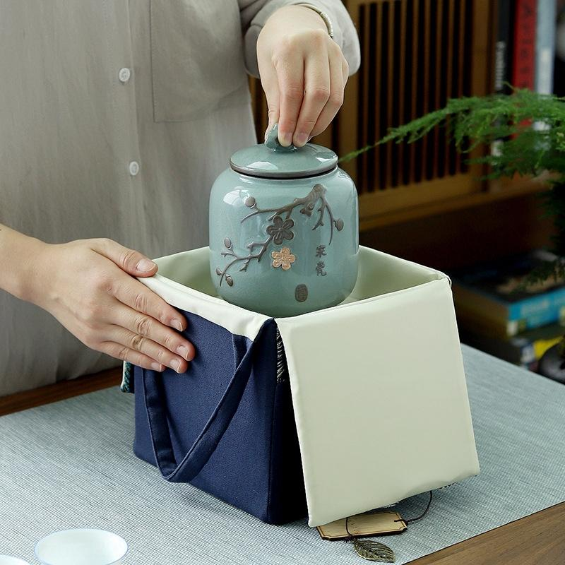 New Tea fabric ceramic packaging bag ceramic tea jar packaging empty gift empty box gift box bag