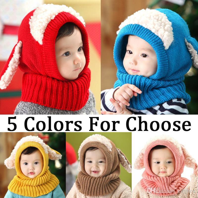Hot Sale Baby Kids Warm Winter Knit Plush Wool Beanie Hat Cute Earflap Hood Scarf Ski Cap 5 Colors for Choose