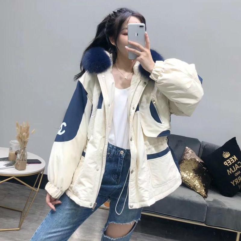 Reale Pelliccia Natural Navy Blue Fur Collar 2019 Giacca donna breve Giù allentato camice bianco anatra Piumino spessore caldo giù T190922