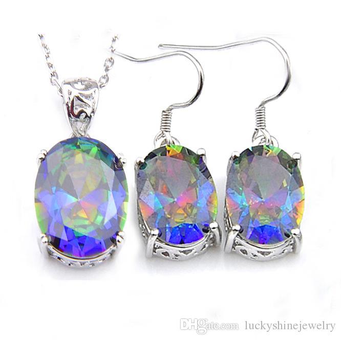 5 ensembles Luckyshine dame de la mode Ensembles Topaz Blue Rainbow Mystic Gemmes Pendentifs Boucles d'oreilles Ovale 925 ensembles de gros bijoux en argent