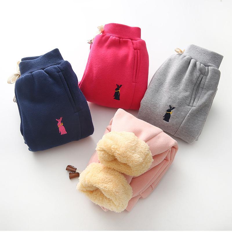 Feste-Kind-Hosen-Kleinkind-Hosen-Baby-Mädchen-Sport-Hosen-Kind-Kind-Winter-warme Plus-Samtverdickung Pants
