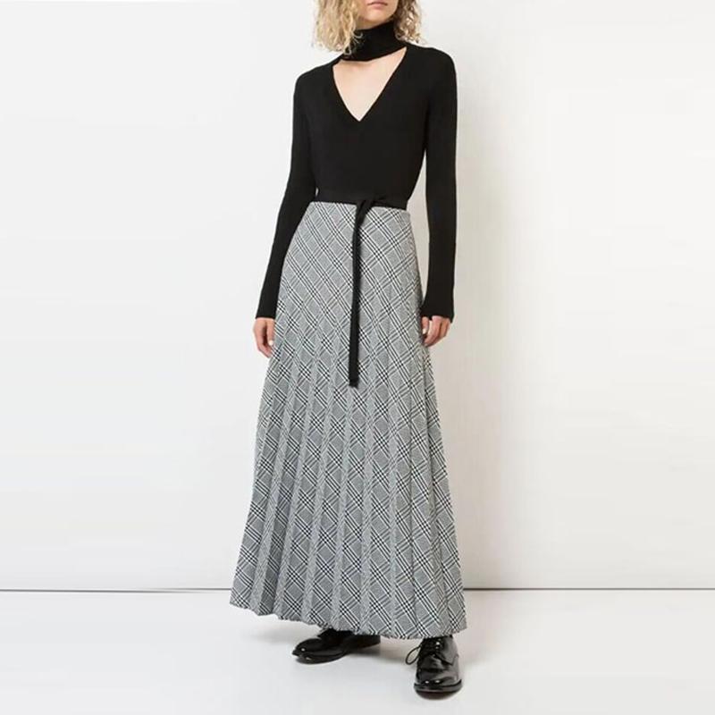 HIGH QUALITY New Fashion 2019 Designer Runway Dress Women's Long Sleeve Plaid Pleated Long Dress