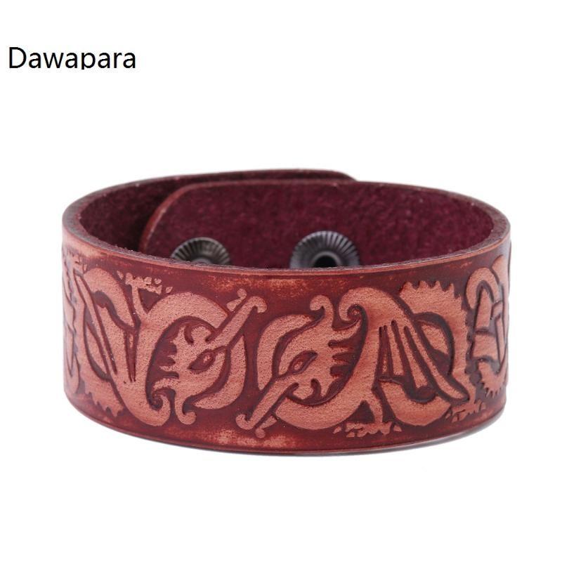Bracciali Dawapara religiosi Drago Brown Genuine Leather Amuleto