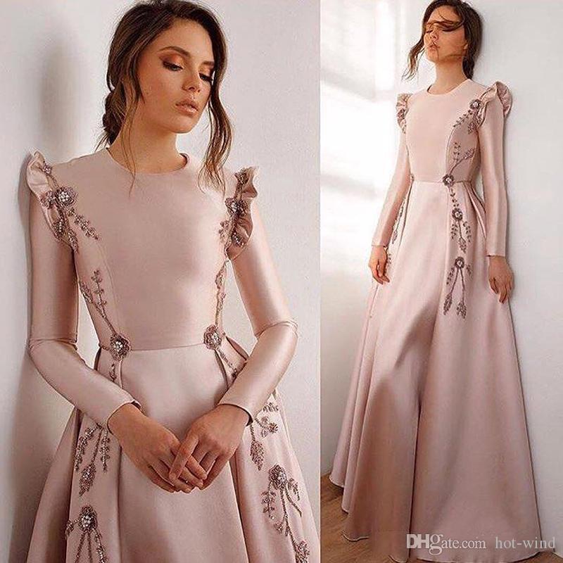 Mütevazı Uzun Kollu Saten Bir Çizgi Abiye Ruffles Dantel Aplike Boncuklu Bir Çizgi Gelinlik Modelleri Artı Boyutu Elbiseleri