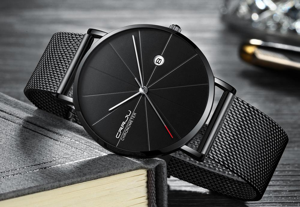 2020 CRRJU Мужские часы Top Brand Luxury Black Quartz Мужчины Часы Drop Shipping Mesh ремень Casual Orologi да Uomo ди Lusso AUTOMATICI