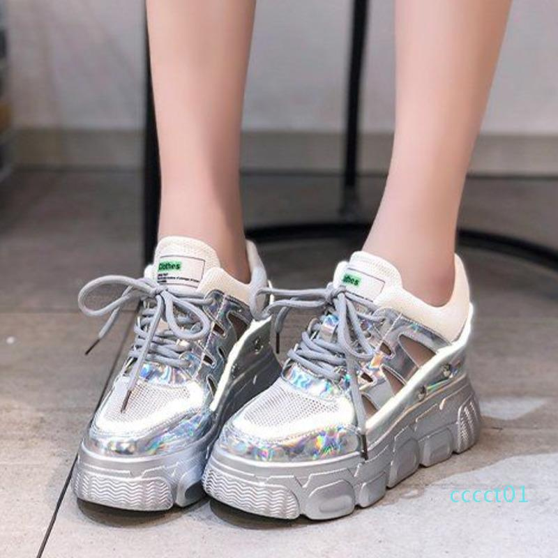 Women Platform Sandals Chunky Shoes Designers Brand Fashion Woman 8cm High Heels Wedges Sandal Beach Silver Lace Up Casual Shoes ct1