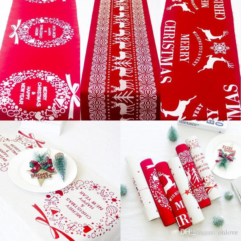Christmas Cotton Tablecloth Snowflake Elk Printed Tablecloth Red White Cartoon Table Runner Xmas Household Desktop Decoration XD22350
