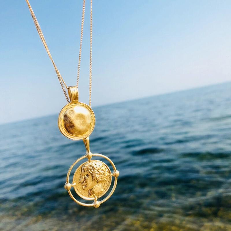 Vintage Carved Coin Necklace For Women Boho Gold Medallion Long Chain Double Necklace Pendant Personalized Female Necklace