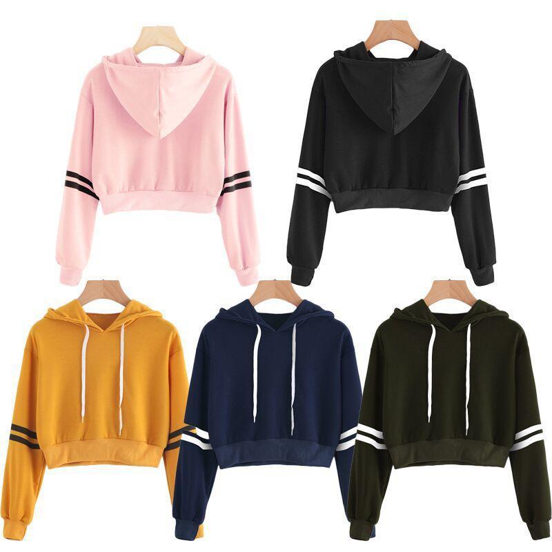 5 컬러 S-XL 여성 후드 까마귀 운동복 점퍼 스웨터 크롭 탑 코트 풀오버 탑
