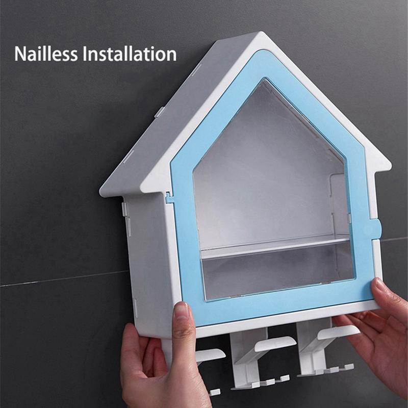 Small House Toothbrush Holder Wall-Mounted Double Storage Rack Cup Holder Set