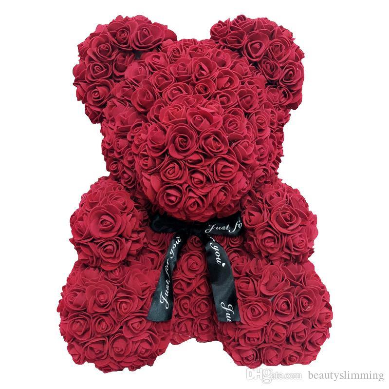 Oso Rosa Nueva Flor De Jab/ón del D/ía De San Valent/ín Flor Artificial Flor Eterna Creativa Abrazo Oso Oso Rosa 40cm