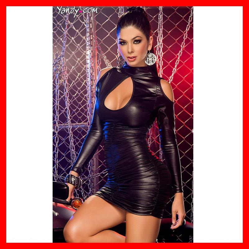 Tight paint leather night club DS costume stage clothes long sleeve pleated leather women's pole dance stage clothes 4125