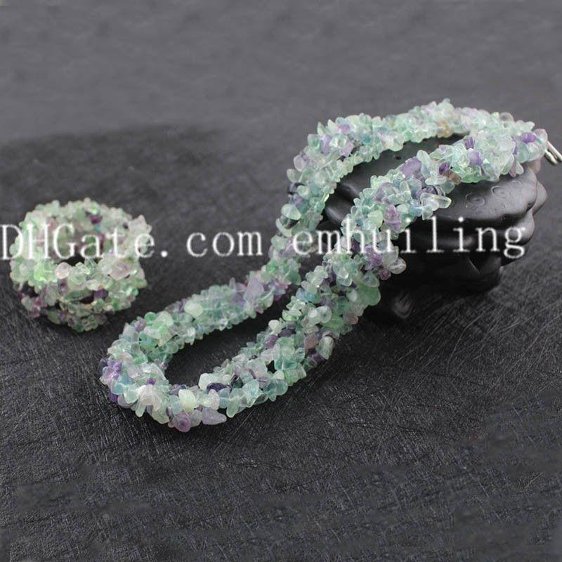 5 Sets Irregular Polished Natural Semi Precious Gemstone Beads Chips Necklace Bracelet Set Turquoise Rose Quartz Amethyst Carnelian Fluorite