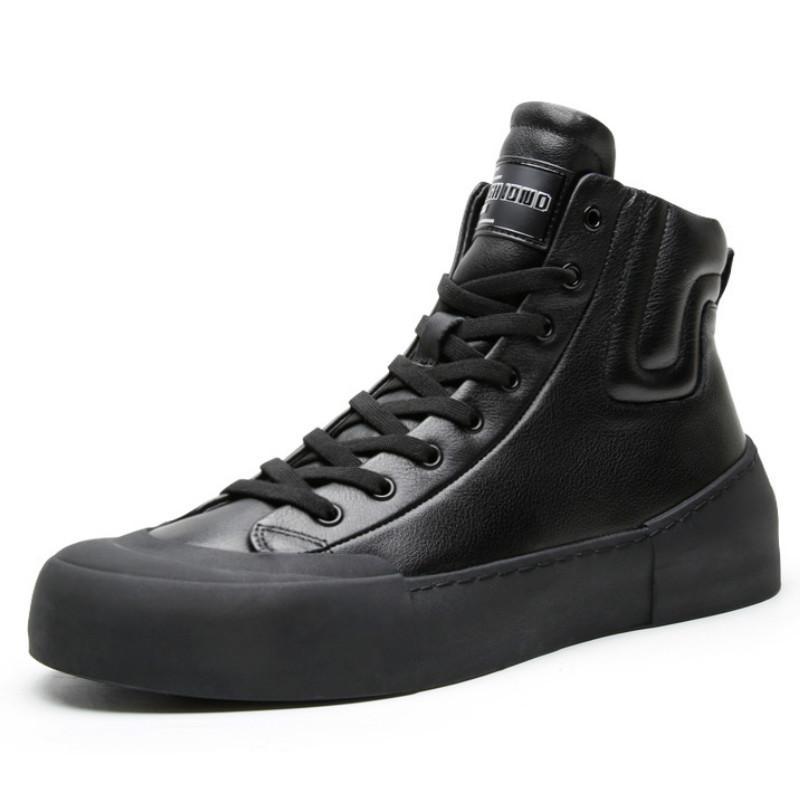 High Top Chaussures Casual British Fashion Loisirs Hommes Chaussures en cuir de vache en cuir jeunesse ronde Toe cheville de base Bottes de style coréen hommes