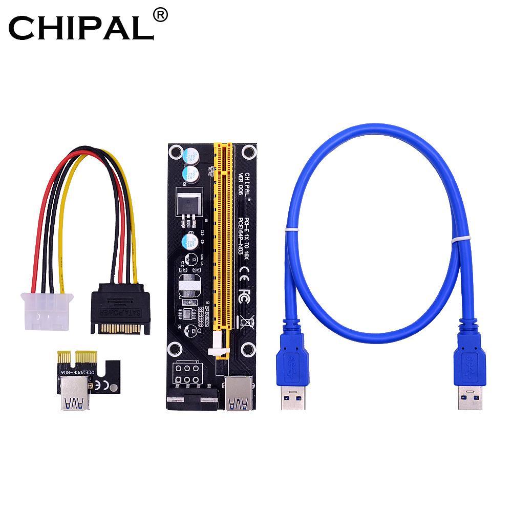 كابلات الكمبيوتر موصلات CHIPAL VER006 PCIE الناهض بطاقة 60CM 100CM USB 3.0 كابل 1X PCIE إلى 16X تمديد محول SATA 4PIN