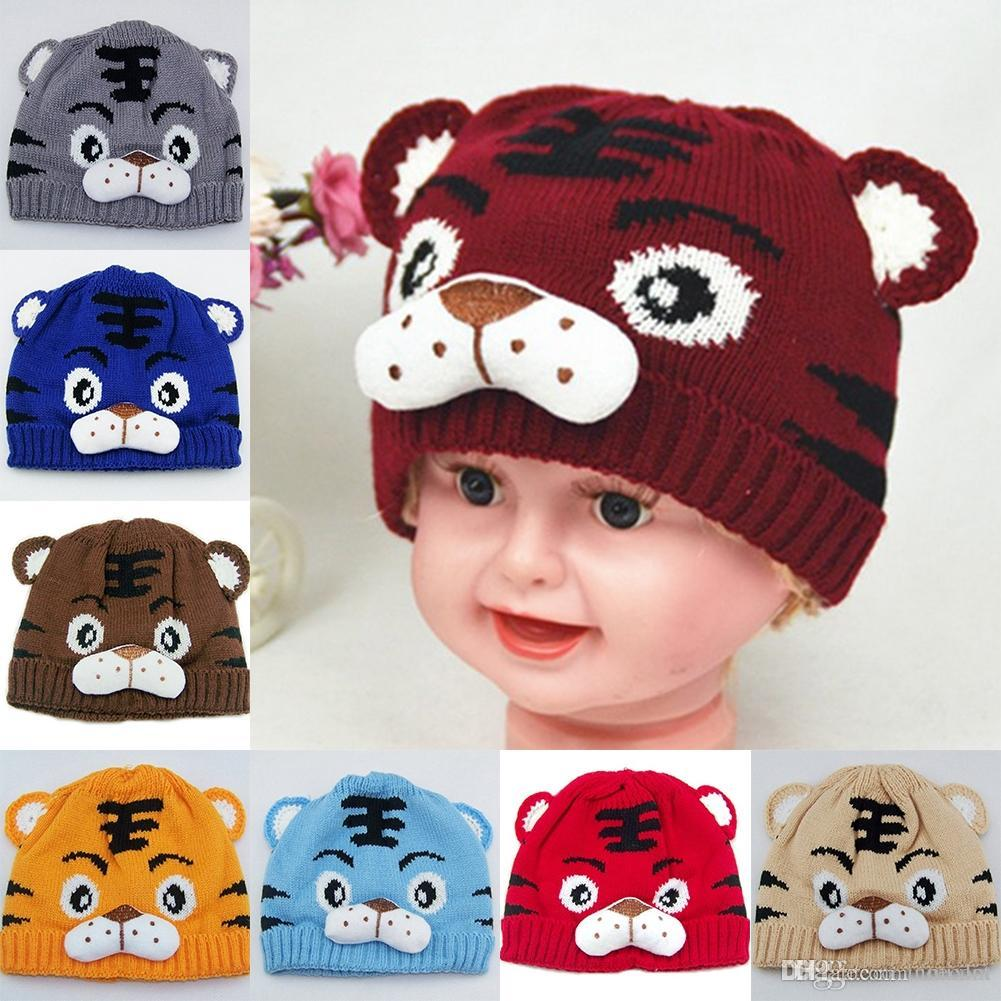 Fashion Autumn Winter Children Knitted Hat Animal Tiger Pattern Beanie Newborn Baby Kids Keep Warm Boy Girl Crochet Cap
