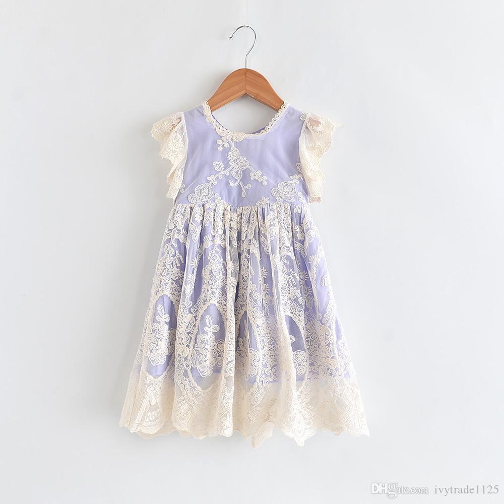 INS sıcak satış yaz kız çocuklar Dantel Nakış çocuklar O-Boyun Kısa kollu zarif elbise