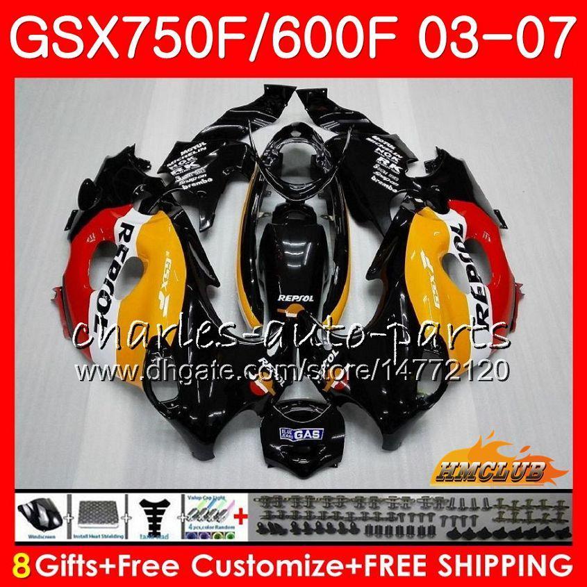 Corpo per Suzuki Katana GSXF750 GSXF600 2003 2004 2005 2006 2007 3HC.20 GSX600F Repsol Orange GSX750F GSXF 600 750 03 04 05 06 07 Kit carenatura