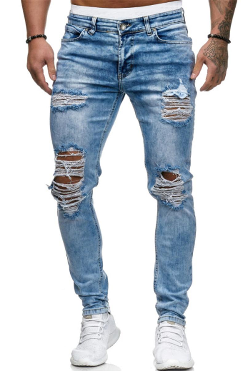 Hole Blue Mens Jeans Ripped Distrressed Solid Casual Male Pencil Pants Slim Washed Fashion Boys Trousers