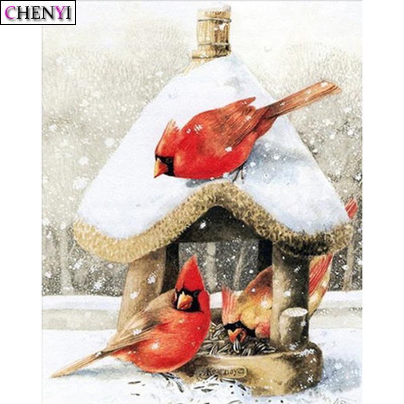 ChenYi 5D DIY Алмазной Картины Snow House Full Square Алмазной Вышивка крест Мозаика Изображение Птичий Новогоднее украшение