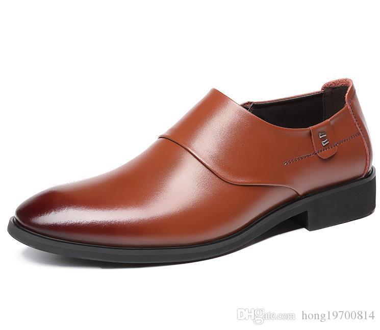 Zapatos de vestir nuevos hombres de moda los zapatos de cuero real señaló zapatos para hombre de negocios para la boda el trabajo el hombre de negocios formal