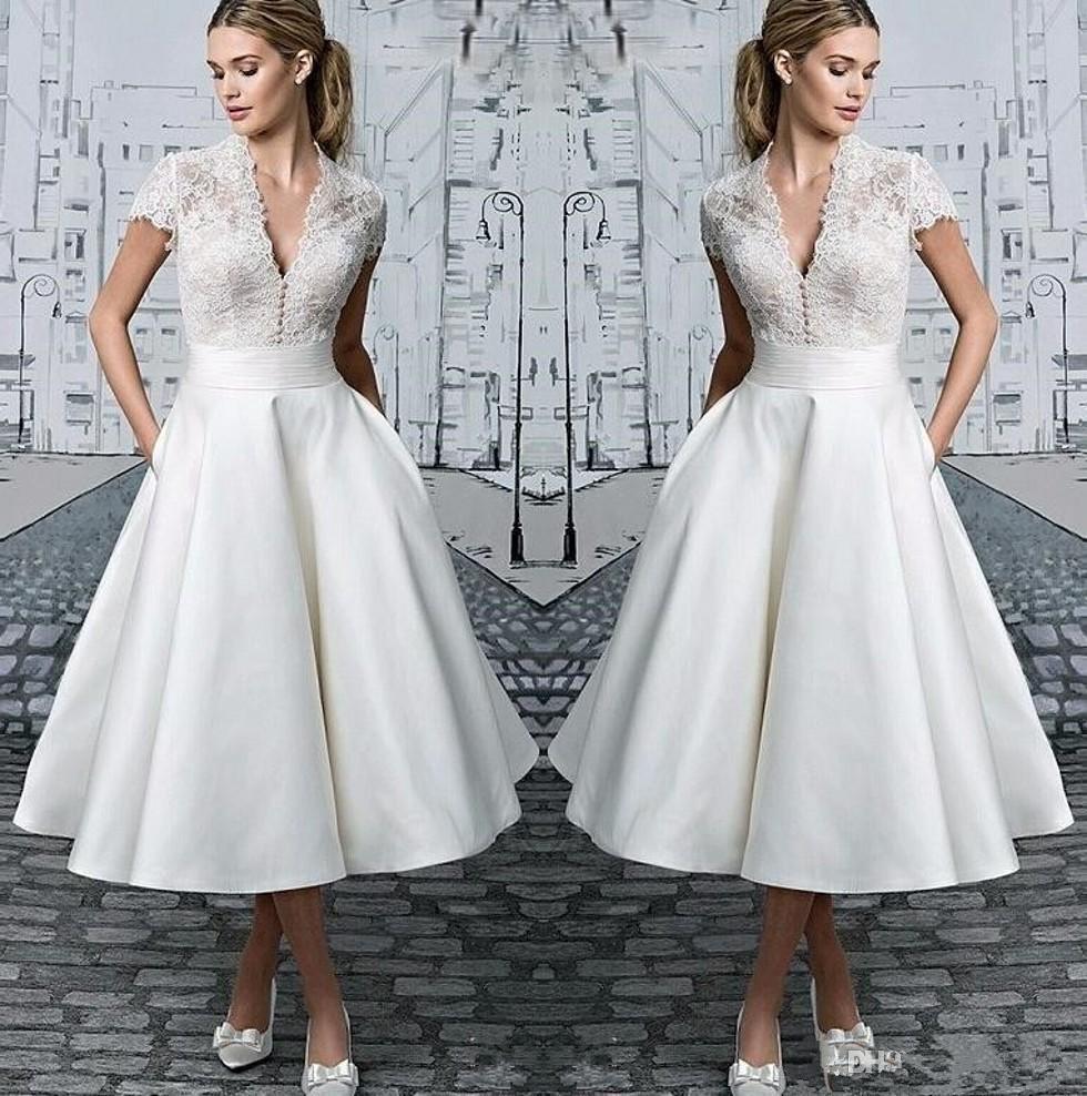 Discount Vintage Lace Tea Length A Line Wedding Dresses 2020 V