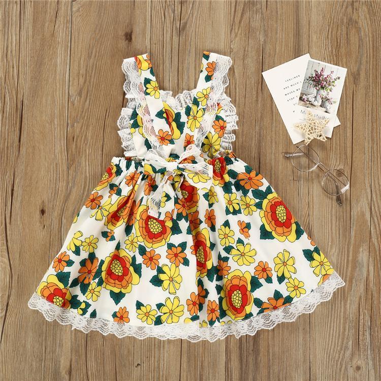 Nouveau bébé filles Robes d'été fille manches robe fleur de dentelle mignon vêtements design enfants jupe princesse filles de TJY504