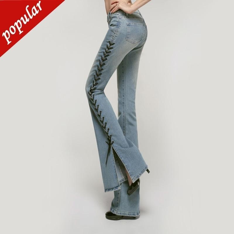 Mulheres cintura de meados de Bell inferior Jeans Alargamento Pants desenhador de moda Pants Magro Dividir Side Cordas alargamento Leg Calças W421