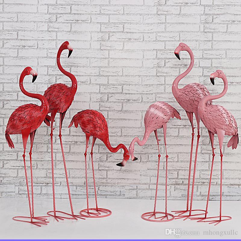 الفن الحديد الأحمر فلامنغو عن طريق الرصاص حفل زفاف الديكور الحرف محاكاة النافذة التصوير الحيوانية مول الديكور الدعائم