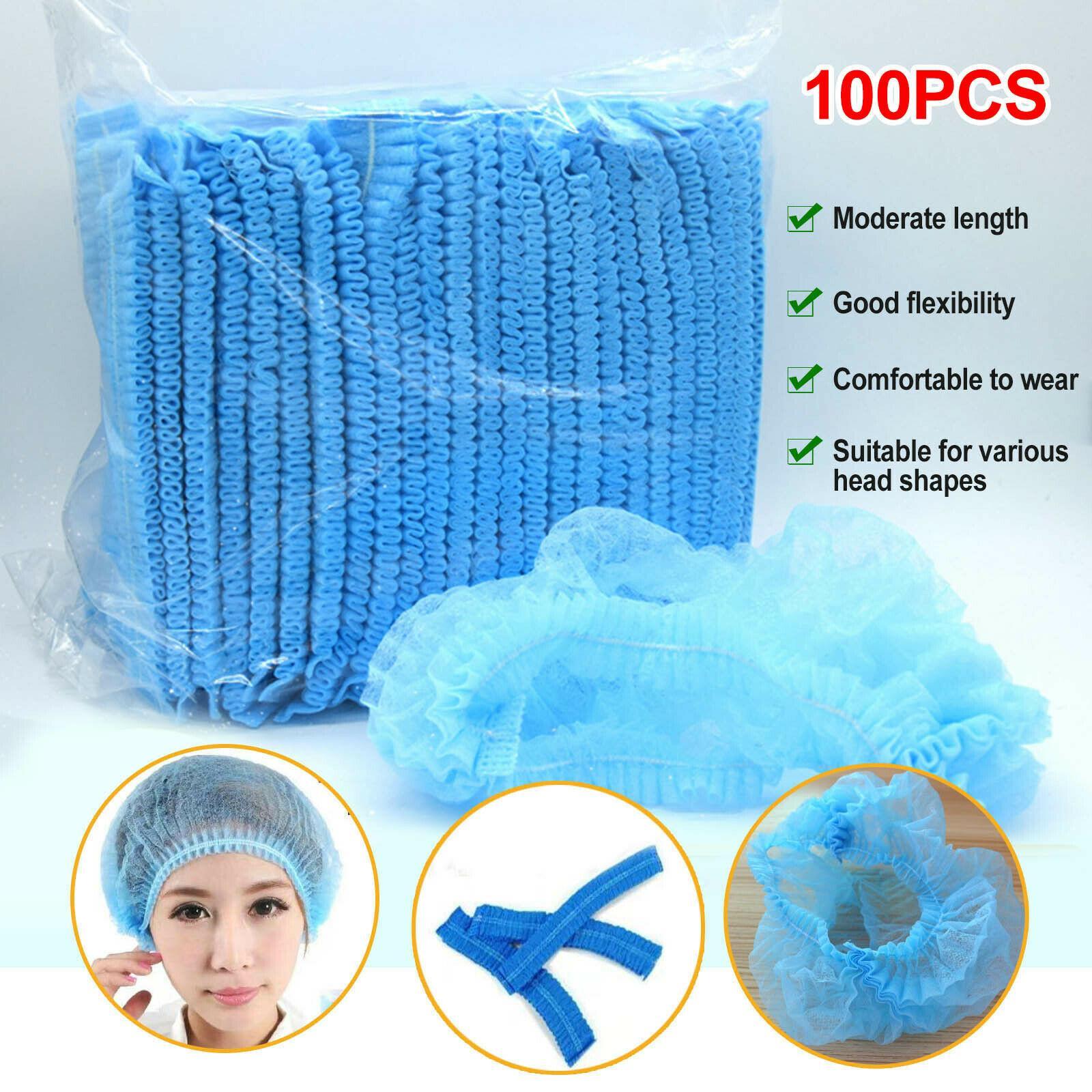 Free Shipping! 100pcs Disposable Hair Net Bouffant Cap Non Woven Stretch Dust Cap Head Cover