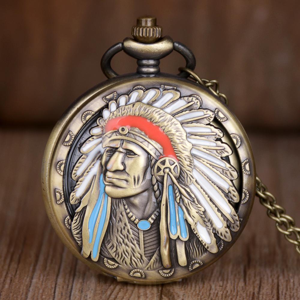 톱 브랜드 고대 인도 노인 다채로운 세로 디자인 석영 시계 줄 회중 시계 청동 펜던트 목걸이 체인 기념품 선물