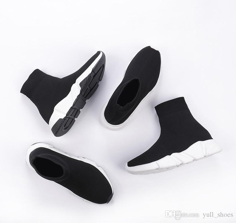 2020 Nouvelle vitesse de haute qualité Entraîneur Luxe Hommes Femmes Y Designer Chaussures Plateforme Noir Blanc Baskets chaussures chaussettes sport Runner