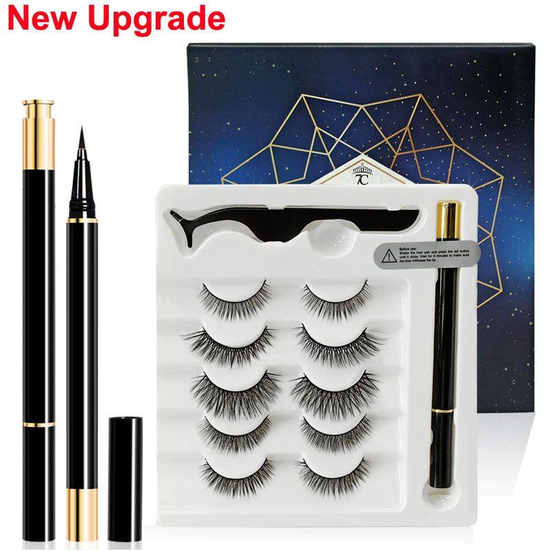Maquillage 3D Faux Cils Liquid Eyeliner Brucelles Set Eyeliner magique 5 paires Cils réutilisables étanche sans colle garantie Make Up Outils