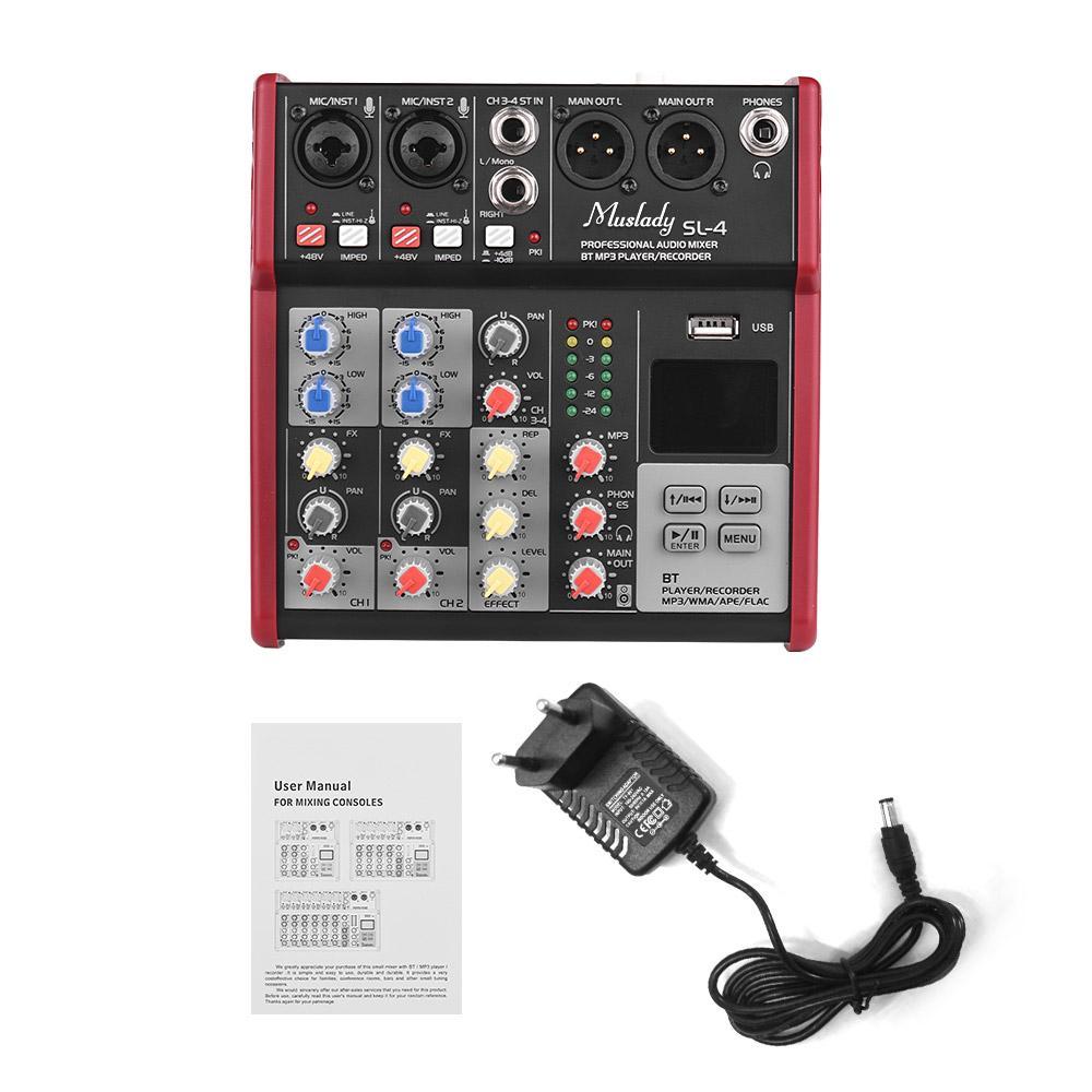 Muslady SL-4 Компактный размер 4-канальный микшерный пульт Mixer 2-полосный эквалайзер Встроенный 48В Поддержка BT USB Connection
