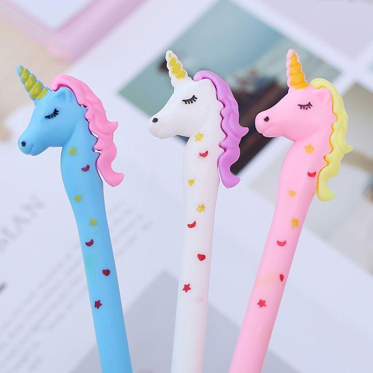 Korean Cute Colored Gel Pen Unicorn Kawaii Anime Stationary Thing School Office Supply Material Kawai Stationery Goods