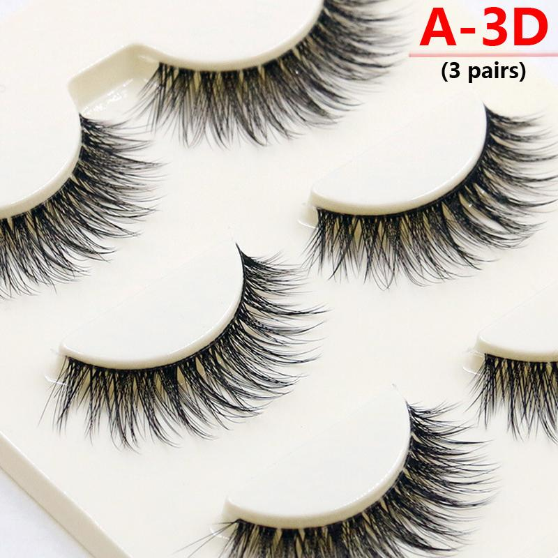 New A14-20 Types 3 Pairs False Eyelashes Black Natural Cross Long Thick Professional Makeup Fake Eye Lashes Set