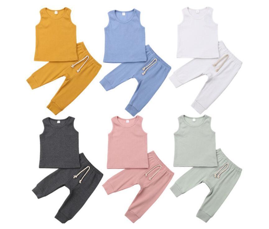 아기 여름 옷은 단순 소년 소녀 민소매 바지 정장 솔리드 컬러 의상 패션 캐주얼 조끼 긴 바지 2 개 6 색 ZYQA455을 설정합니다
