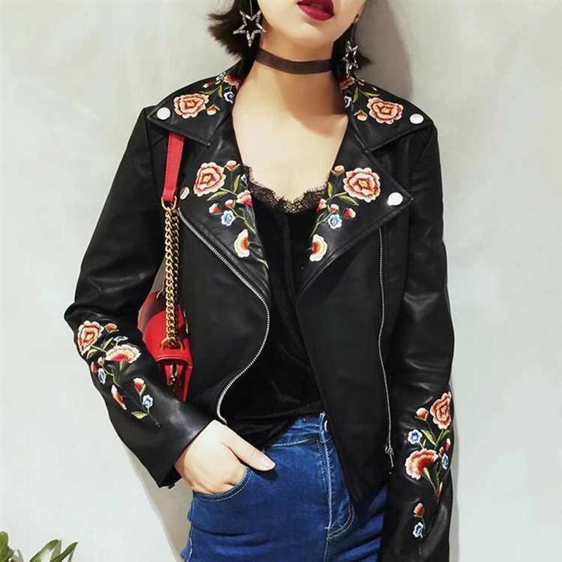 Giacca da donna vintage di marca Kenntrice con fiore di qualità, giacche in pelle sintetica ricamata rosa