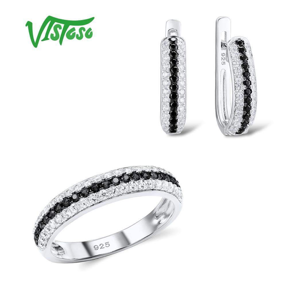 Vistoso conjuntos de jóias para a mulher preta espinelas Pedras Jóias Set Anel 925 Sterling Silver Moda Belas