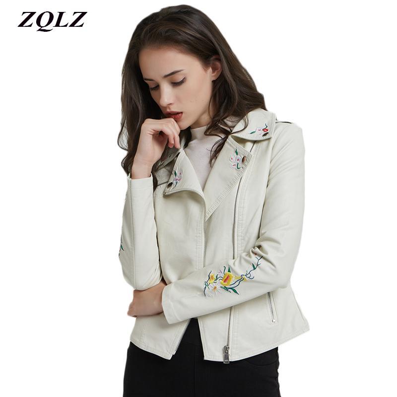 Zqlz 2018 moda bordado chaqueta de cuero de imitación de las mujeres bombardero otoño abrigo corto turn-down cuello cremallera motocicleta chaqueta femenina