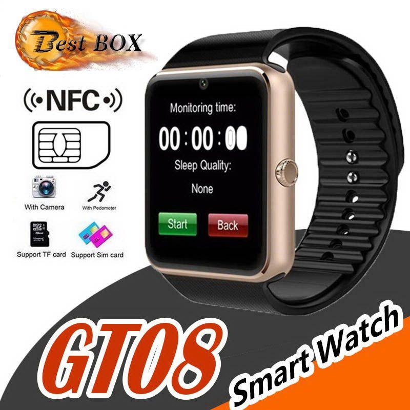 GT08 Bluetooth Smart Watch con ranura para tarjeta SIM y NFC Health para Android Samsung y pulsera de teléfono inteligente con paquete mejor DZ09 U8 V8
