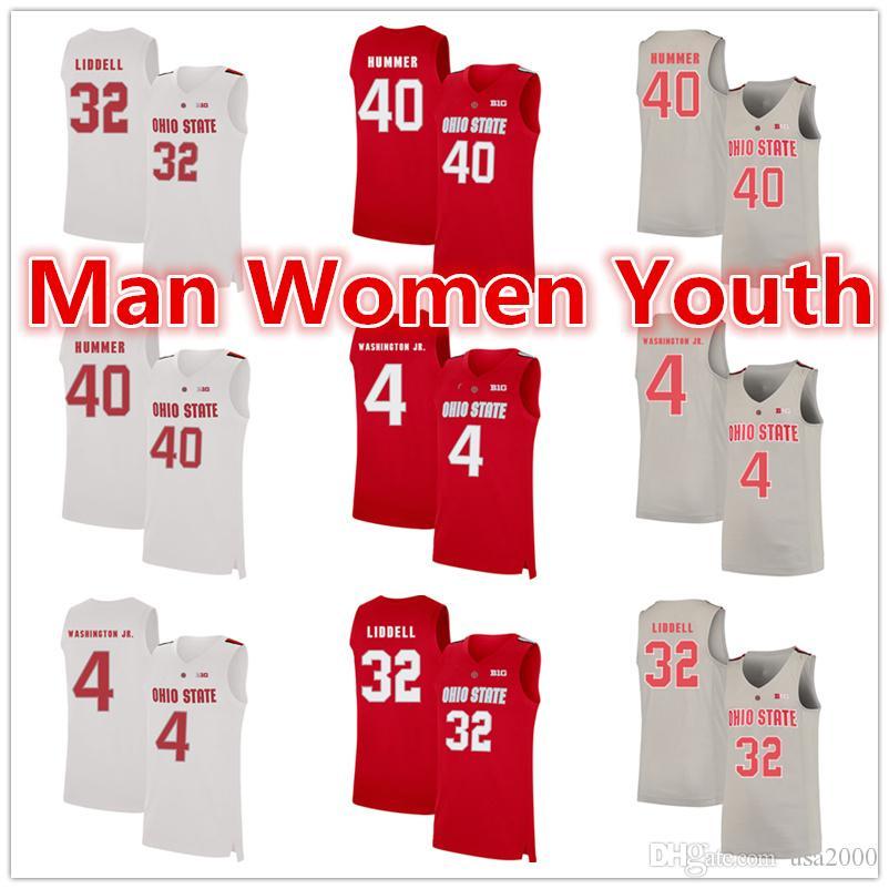 пользовательские NCAA штат Огайо Buckeyes баскетбольные майки Danny Hummer 40 Duane Washington Jr. 4 E. J. Liddell 32 Джерси любое имя номер размер S-5XL