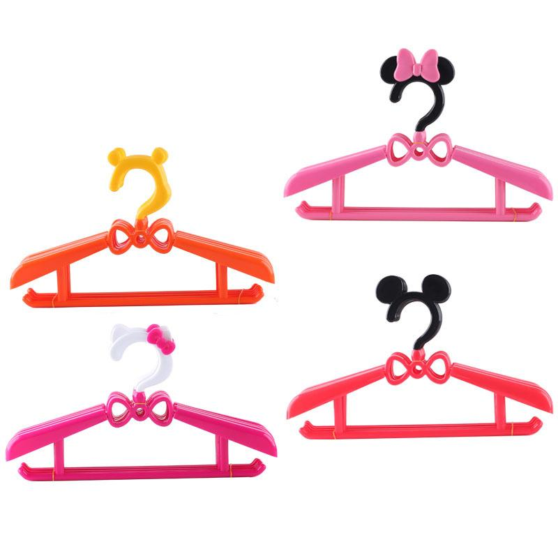 Baby cute cartoon children adult high-grade telescopic clip plastic hanger candy color solid pants rack children's clothing store special