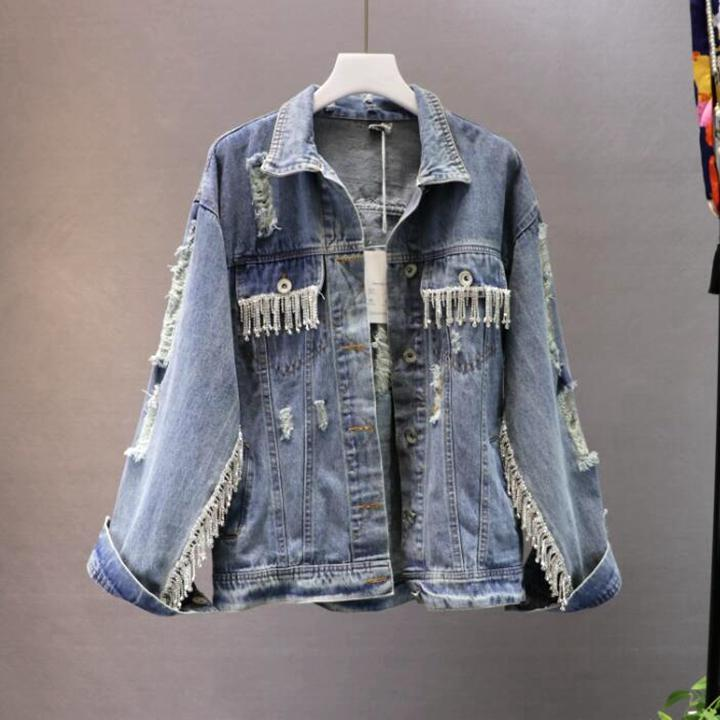Heavy Metal Tassel Strass Buracos Usados Casaco de Cowboy para As Mulheres de Manga Longa Gloria Jeans Jaqueta Casacos Street Wear Denim Jacket