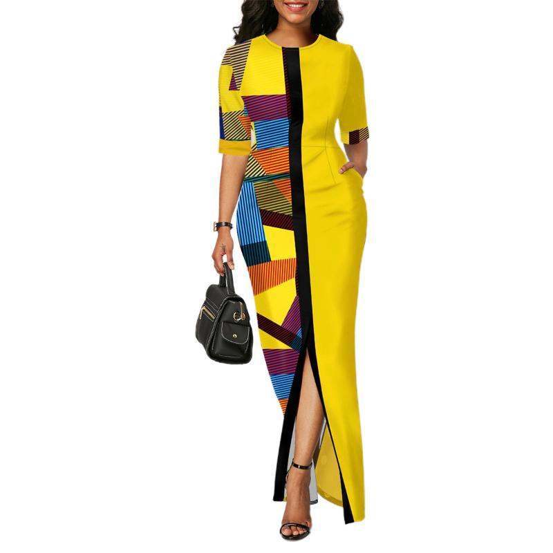 Imprimé géométrique Femme Robes mi manches courtes taille haute Patchwork Ladies Summer Party vestimentaire pour les femmes