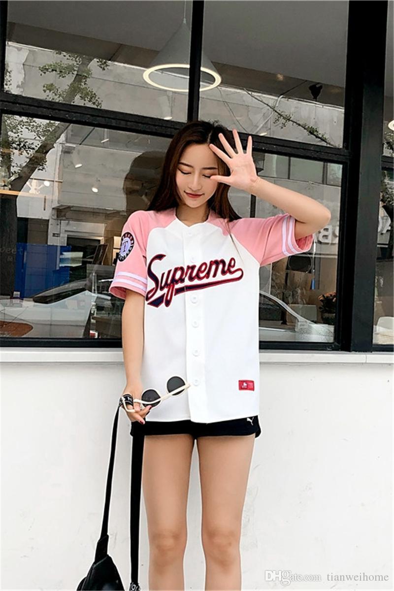 الهيب هوب المرأة عارضة نمط فضفاض القطن مطرزة قميص البيسبول أزياء طباعة رسالة تصميم تي شيرت 2 الألوان