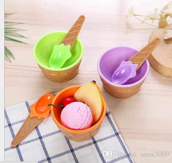 2019-caldo del gelato dei capretti ciotole Coppa di gelato Coppie Bowl regalo Dessert Holder Container con il cucchiaio migliore regalo dei bambini del rifornimento