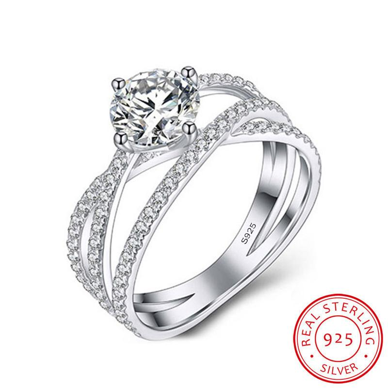 100% Original 925 Sterling Silver Ring Bride Wedding Engagement Cubic Zircon Rings Jewelry Accessories Gift Box for Women XR375
