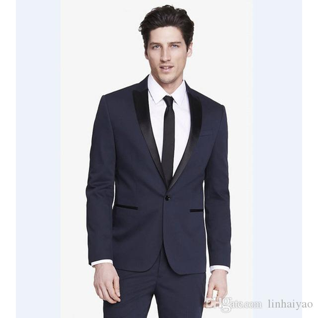 New Arrival Groomsmen Peak Black Lapel Groom Tuxedos Navy Blue Mens Suits Wedding Best men suit (Jacket+Pants+Tie+Hankerchief)